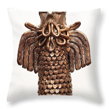 Owl Totem Bronze Gold Color Wings Beak Hair Penetrating Eyes  Scales Feathers   Throw Pillow by Rachel Hershkovitz