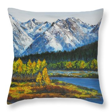 Oxbow-grand Tetons  Throw Pillow by Shirley Heyn
