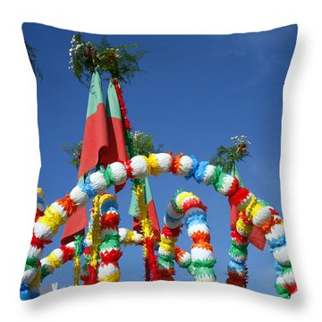 Oxen Cart Decorations Throw Pillow by Gaspar Avila