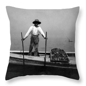 Oyster Fishing On The Chesapeake Bay - Maryland - C 1905 Throw Pillow by International  Images