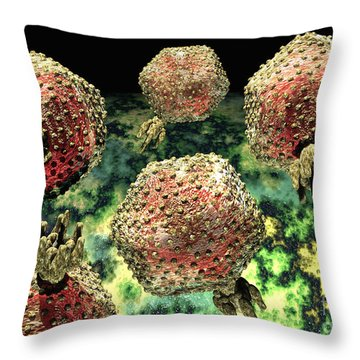 P22 Bacteriophages Throw Pillow by Russell Kightley