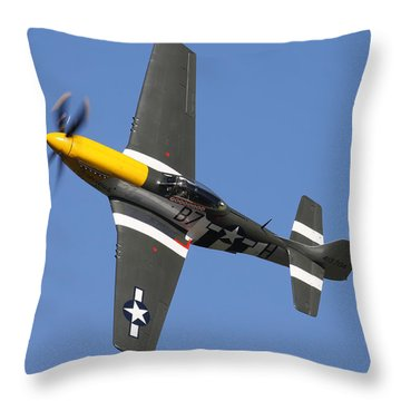 P51 Mustang Cadillac Of The Skies Throw Pillow