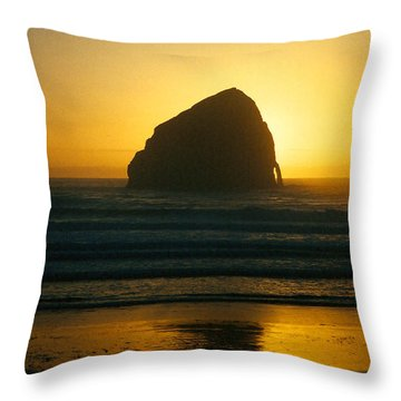 Pacific City Sunset Throw Pillow by Chriss Pagani
