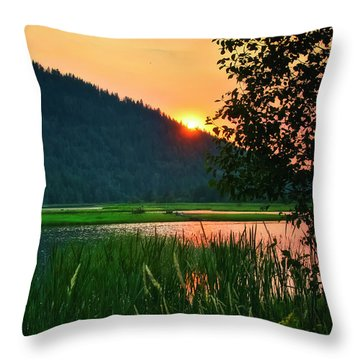 Throw Pillow featuring the photograph Pack River Delta Sunset 2 by Albert Seger