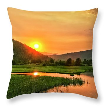 Throw Pillow featuring the photograph Pack River Delta Sunset by Albert Seger