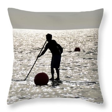 Paddle Boarding Throw Pillow by David Lee Thompson