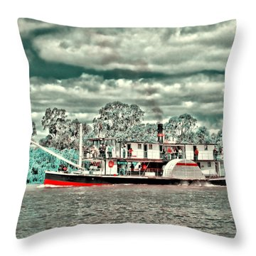 Paddle Steamer Throw Pillow by Douglas Barnard