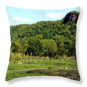 Kayaking Under The Bluffs Throw Pillow by Inspired Arts