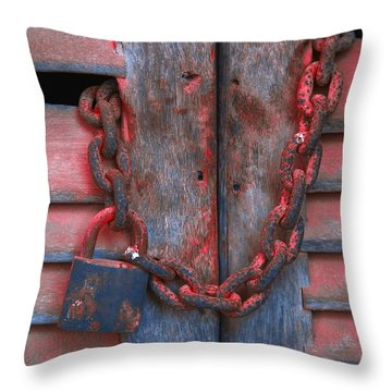 Padlock And Chain On Wooden Door Throw Pillow by Carson Ganci