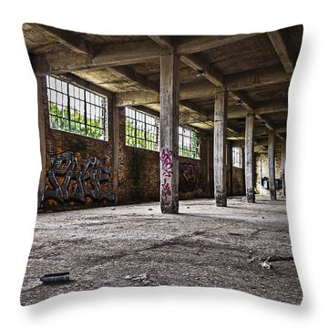 Paint And Concrete Throw Pillow by CJ Schmit