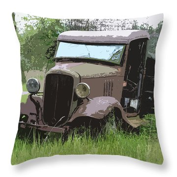 Painted 30's Chevy Truck Throw Pillow by Steve McKinzie