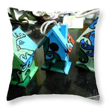 Painted Birdhouses Throw Pillow by Genevieve Esson