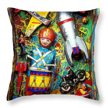 Painted Box Full Of Old Toys Throw Pillow by Garry Gay