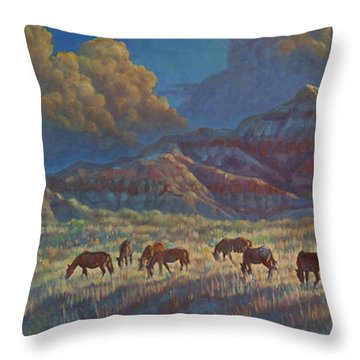 Painted Desert Painted Horses Throw Pillow