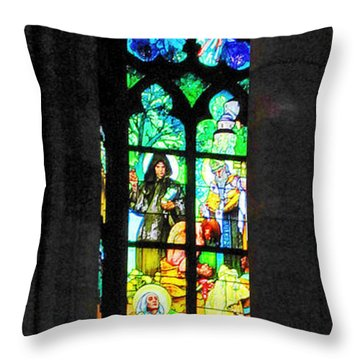 Painted Glass - Alfons Mucha  - St. Vitus Cathedral Prague Throw Pillow by Christine Till