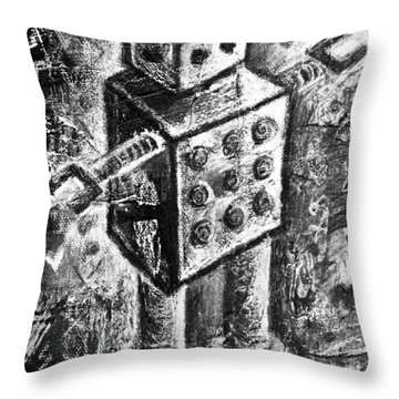 Painted Robot 1 Of 6 Throw Pillow by Roseanne Jones