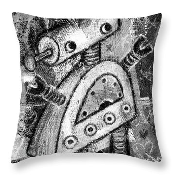 Painted Robot 2 Of 6 Throw Pillow by Roseanne Jones