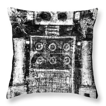 Painted Robot 3 Of 6 Throw Pillow by Roseanne Jones