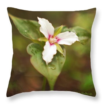 Throw Pillow featuring the photograph Painted Trillium With Fauna by Daniel Hebard