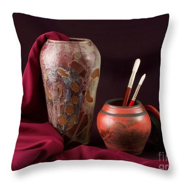 Painterly Pots Throw Pillow