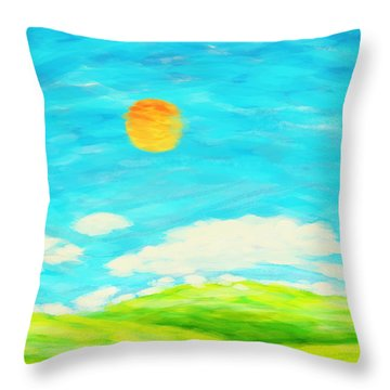 Painting Of Nature In Spring And Summer Throw Pillow by Setsiri Silapasuwanchai