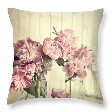 Painting Of Pink Peonies In Glass Jar/digital Painting   Throw Pillow