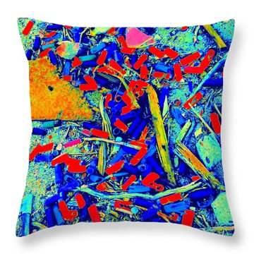 Painting With Debris Throw Pillow by Randall Weidner