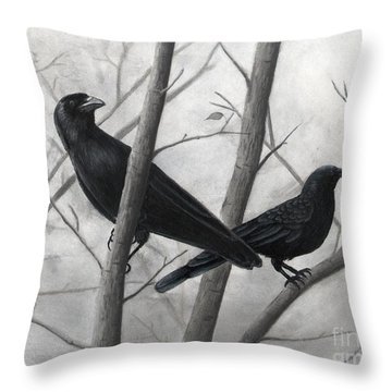 Pair Of Crows Throw Pillow