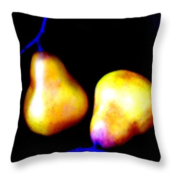 Pair Of Pears Yellow Throw Pillow by Randall Weidner