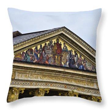 Palace Of Art - Heros Square - Budapest Throw Pillow by Jon Berghoff