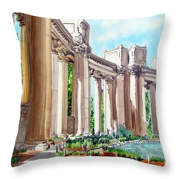 Throw Pillow featuring the painting Palace Of Fine Arts by Tom Riggs