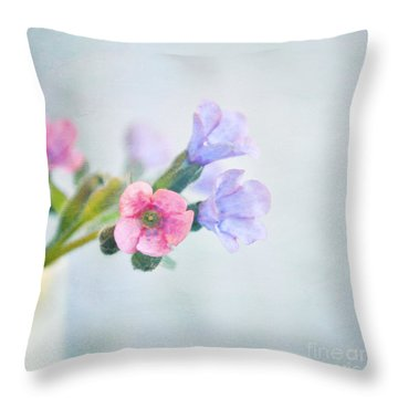 Pale Pink And Purple Pulmonaria Flowers Throw Pillow by Lyn Randle