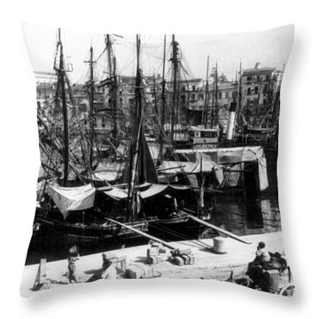 Palermo Sicily - Shipping Scene At The Harbor Throw Pillow by International  Images