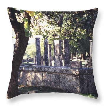 Throw Pillow featuring the photograph Palestra Olympic Site Greece by Tom Wurl
