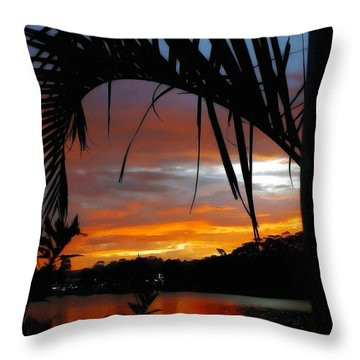 Palm Framed Sunset Throw Pillow by Kaye Menner