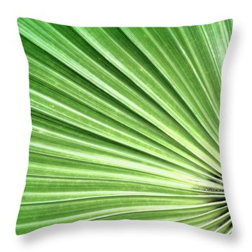 Palm Leaf Throw Pillow by Rudy Umans