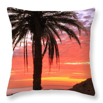 Palm Tree And Dawn Sky Throw Pillow