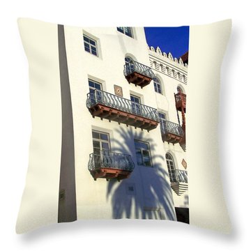 Palm Tree Shadow On The Wall Throw Pillow by Patricia Taylor