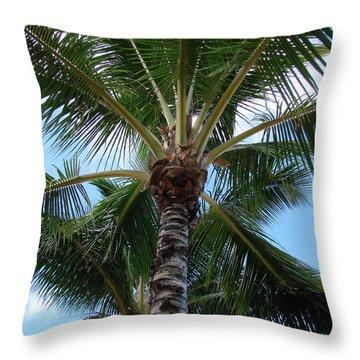 Throw Pillow featuring the photograph Palm Tree Umbrella by Athena Mckinzie
