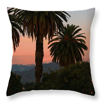 Palm Trees And Orange Trees Throw Pillow