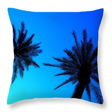 Palm Trees At Dusk Throw Pillow