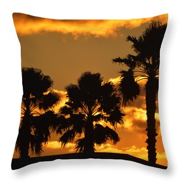 Palm Trees In Sunrise Throw Pillow by Susanne Van Hulst