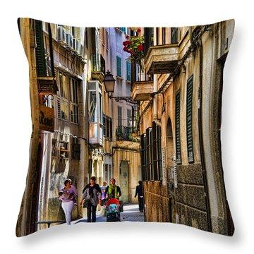 Palma Mallorca Street Scene Throw Pillow by David Smith