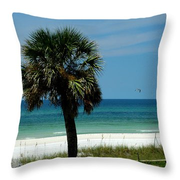 Palmetto And The Beach Throw Pillow by Susanne Van Hulst