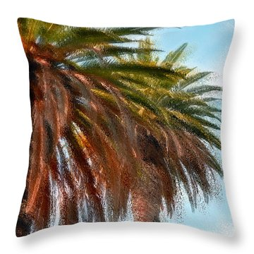Palms A'glo Throw Pillow by Gwyn Newcombe