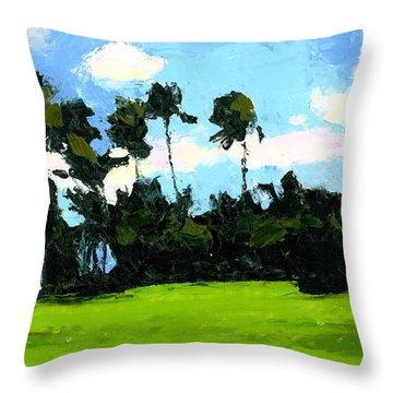 Palms At Kapiolani Park Throw Pillow by Douglas Simonson