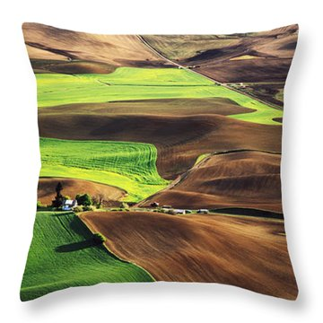 Palouse Farm Country Throw Pillow by Dennis Flaherty and Photo Researchers