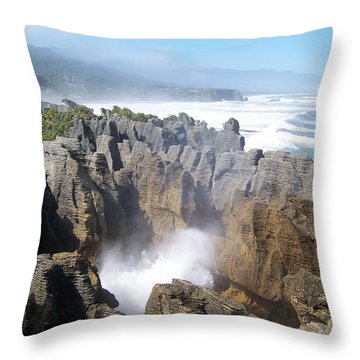 Throw Pillow featuring the photograph Pancake Rocks Blowhole by Peter Mooyman