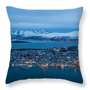 Panoramic View Of Tromso In Norway  Throw Pillow by Ulrich Schade