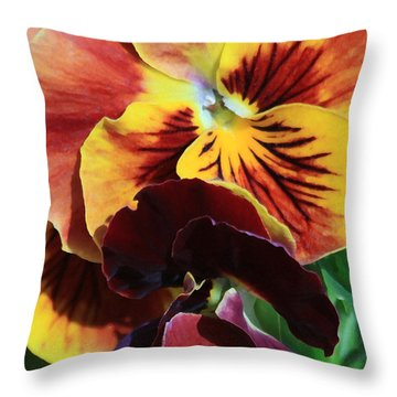 Throw Pillow featuring the photograph Pansies by Donna Corless